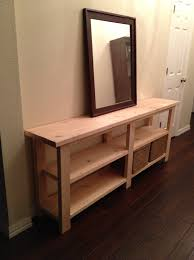 unfinished diy wood long console table with storage in the hallway furniture diy plans furniture diy