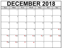 the red dots on the calendar indicate days