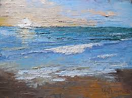 small seascape with sunrise painting textured palette knife art 6x8 oil seascape sold