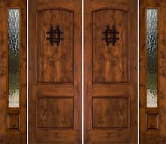 Exterior Brown Wooden Fiberglass Entry Doors With Side Lights - Exterior door glass replacement