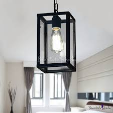 industrial ceiling pendant light with 9 84 w rectangle glass shade black
