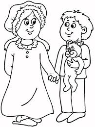 Pretty Free Printable Pajama Coloring Pages Mom And Son In Pajamas