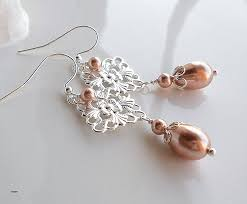 pearl and crystal chandelier earrings new rose gold chandelier earrings rose gold pearl drop dangle earrings