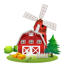 farm windmill drawing. Illustration Of A Farm With Red House And Windmill On White Background Drawing