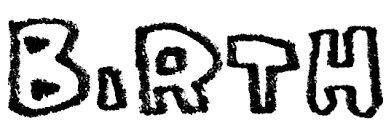 Birthの手書き文字 えんぴつと画用紙