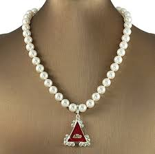 delta sigma theta dst sorority pearl necklace pendant