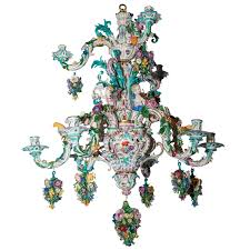two tier meissen porcelain chandelier with birds and flower decorations for