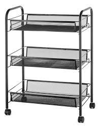 halter 3 tier rolling basket stand full metal rolling trolley for kitchen bathroom three tier storage cart w shelves wheels 24 75 x 17 25 black
