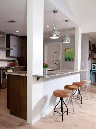 efficient furniture. Furniture Breakfast Bar Dark Wood Features Exposed Beam Ceiling Gray Tile Floor White Pendant Lights Useful And Efficient Option For Flour Storage Space