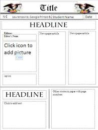 Newspaper Template Freebie By Bookchick Teachers Pay Teachers