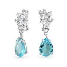 bling jewelry teardrop blue topaz color cubic zirconia cer clip on earrings