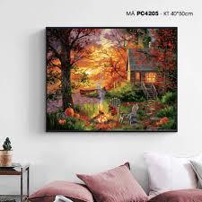 Tranh tô màu theo số mùa thu bên hồ PC4205 - Tranh sơn dầu Thương hiệu OEM