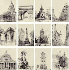 famous architectural buildings black and white. LAVERTON Go Travel - Famous European Buildings Black And White Sketch Vintage Postcards/message Card/Greeting Cards 1lot\u003d28pcs Architectural O
