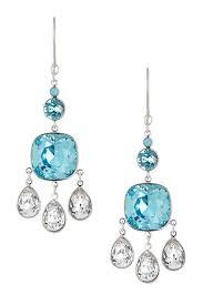 image of swarovski azore blue white swarovski crystal chandelier earrings