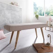 Sitzbank Im Vintage Stil Massivholz Und Polsterung Stoff Beige 117x51x38cm
