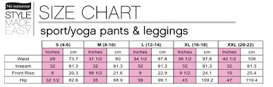 Yoga Pant Size Chart Web Pants Com