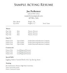 How To Make An Acting Resume Sample Actor Resume With Regard To