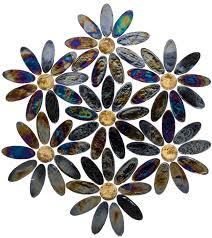 daisy chain iridescent black petals with patina bronze metallic glass tile centers