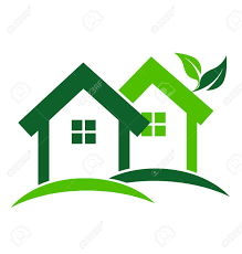 Green Houses Real Estate Business Card Design Vector Icon Houses