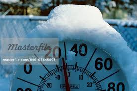 Freezing Temperature Snow On Outdoor Thermometer Cold 28 Degrees Fahrenheit Freezing