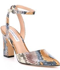 Chelsea Violet Mary Snake Print Leather Pointed Toe Block Heel Pumps