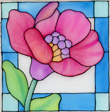 stained glass flower on silk using neocolor ii