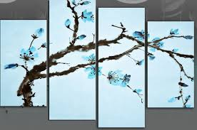 excellent blue on blue oriental flower blossom on tree branch canvas wall throughout blue wall art modern  on large blue flower wall art with excellent blue on blue oriental flower blossom on tree branch canvas