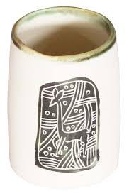 bulk whole handmade ceramic pen stand pencil holder white green office desk accessories