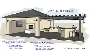 Covered Outdoor Kitchen Plans Ramada Pergola Combo With Bar Seating Bbq And Outdoor Seating