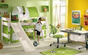 contemporary kids bedroom furniture green. Bedroom. White Wooden Bunk Bed With Slide And Ladder Also Green Tents Connected By Contemporary Kids Bedroom Furniture