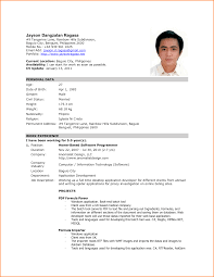 Chic Resume Form Download Philippines In Format Sample Of Resume