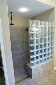 glass block with partial tiled wall shower door less