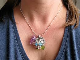 violet birds nest necklace