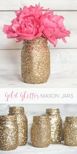 DIY Gold glitter mason jars.