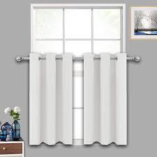 How To Block Light Around A Door Lifonder Kitchen Window Curtain Tiers Greyish White Room Darkening Short Blackout Window Treatments Drapes Valances For Small