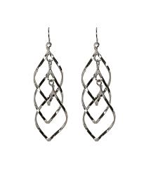 twisted teardrop chandelier earring rhodium hi res