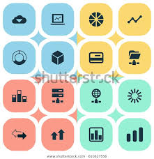 Pie Chart Synonym Vector Illustration Set Simple Analysis Icons Stock Vector
