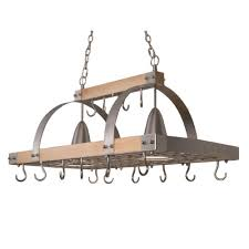 Pot Rack With Lights Home Depot Elegant Designs 2 Light Brushed Nickel Accents Kitchen Wood Pot Rack With Downlights
