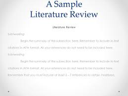 Sample Of Literature Review Apa Style How To Reference A Literature Review In Apa Format