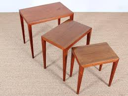 danish mid century modern nesting tables in teak by severin hansen