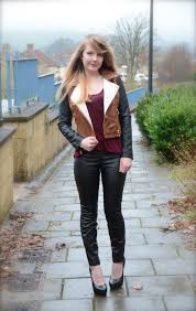 colour blog leather jacket faux leather pants