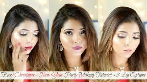 makeup easy new year party makeup tutorial 3 lip options for indian skin hina attar makeup