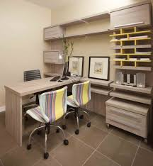 office space storage. Cool Modern Office Space Decor Concept With Functional Wall Storage Units Simple Stylish Desk Against Faux Leather Swivel Chairs Along Industrial