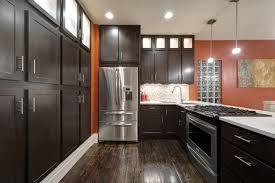 Espresso Kitchen Cabinets With Dark Wood Floors Cliff Kitchen - Wood floor in kitchen