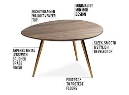 edloe finch small coffee table mid century modern coffee tables for living room contemporary retro low walnut wood midcentury oval round 25 inches