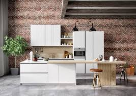 Red Brick Tiles Kitchen Cream Wooden Cabinet Chandeliers Wooden Barstool Kitchen With Red