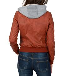 love this product brown hooded faux leather jacket