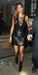 nicole scherzinger is smoking hot in leather mini skirt and plunging lace up top mirror