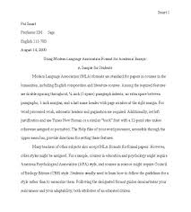 writing an essay in mla format mla sample paper page   writing an essay in mla format 3 examples modern language association mla sample