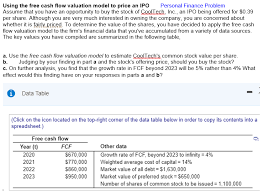 Personal Finance Model Solved P Using The Free Cash Flow Valuation Model To Pric
